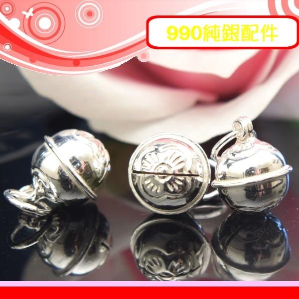銀鏡DIY S990純銀DIY材料配件蓮花紋造型9mm亮面曲線鈴鐺~適合手作串珠蠶絲蠟線非合金