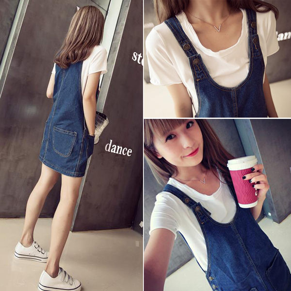 現貨DE shop-夏約輕甜時尚顯廋前後雙口袋造型吊帶牛仔裙S M L A-0787
