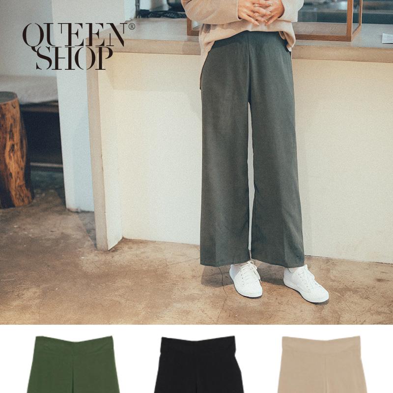 Queen Shop【04110257】簡約素色後鬆緊腰寬褲 三色售*現+預*