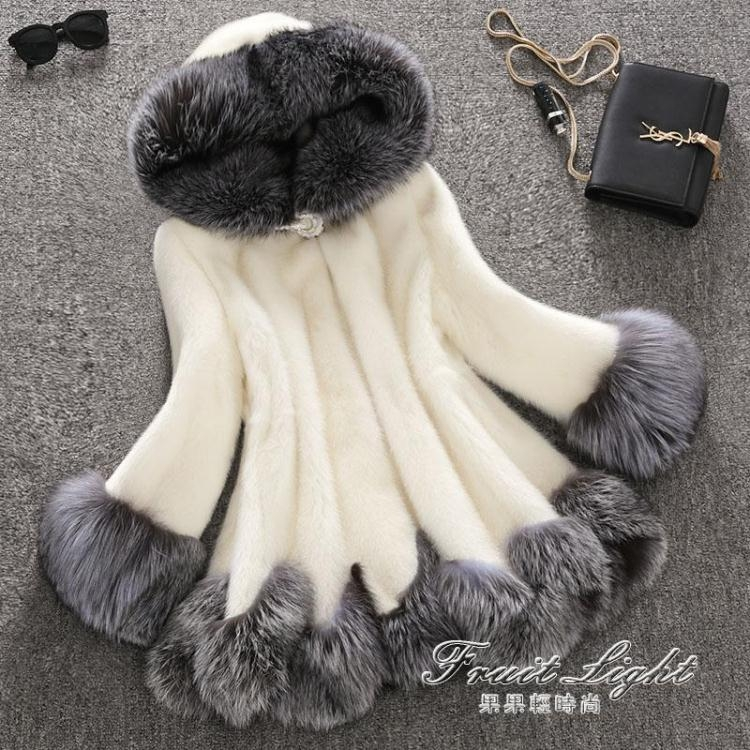 仿皮草冬季仿水貂皮草外套中長款貂絨大衣女狐貍毛連帽韓版修身果果輕時尚