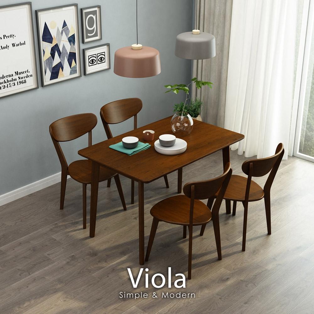 Viola北歐實木餐桌椅組(一桌四椅)【obis】