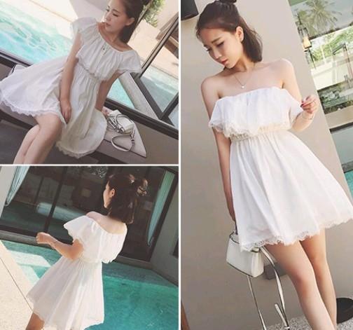 EASON SHOP(GU1193)白色洋裝性感一字露肩娃娃領連身裙短袖蕾絲拼接甜美潮仙氣鬆緊短裙子