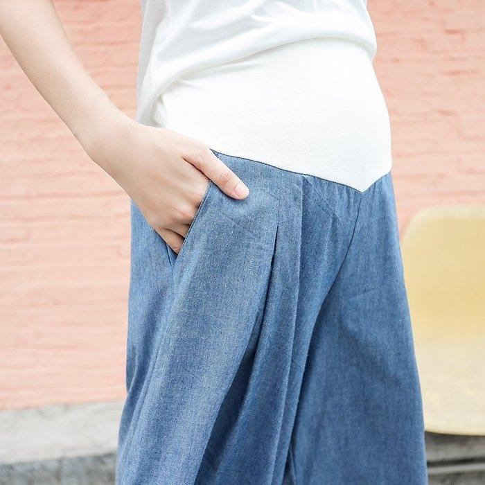 漂亮小媽咪 孕婦寬褲 【P5878】 仿牛仔 托腹 寬褲 七分褲 褲裙 孕婦褲 孕婦托腹褲 孕婦裝