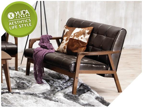 沙發YUDA北歐風瓦爾德休閒雙人實木優麗坦沙發椅沙發J7M 708-6