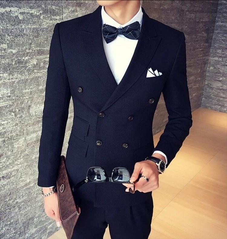 找到自己品牌韓國男混搭經典款雙排扣西裝外套穿搭三件式套裝成套西裝西裝修身