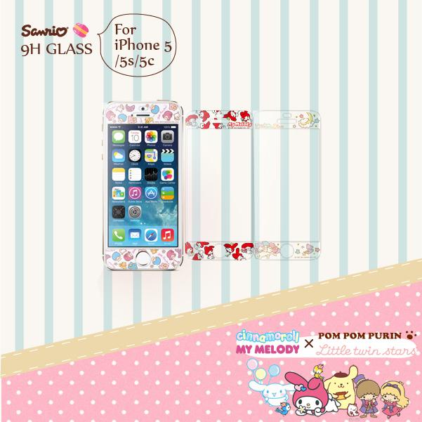 FEEL時尚APPLE iPhone 5 5S 5C 9H正版三麗鷗雙子星美樂蒂9H浮雕彩繪鋼化玻璃螢幕貼手機保護膜
