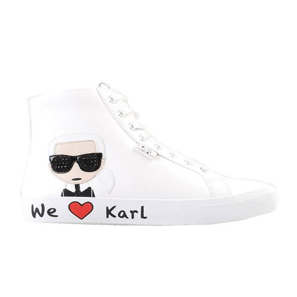 Karl Lagerfeld鞋 SKOOL 高筒Q版WE LOVE休閒鞋-白