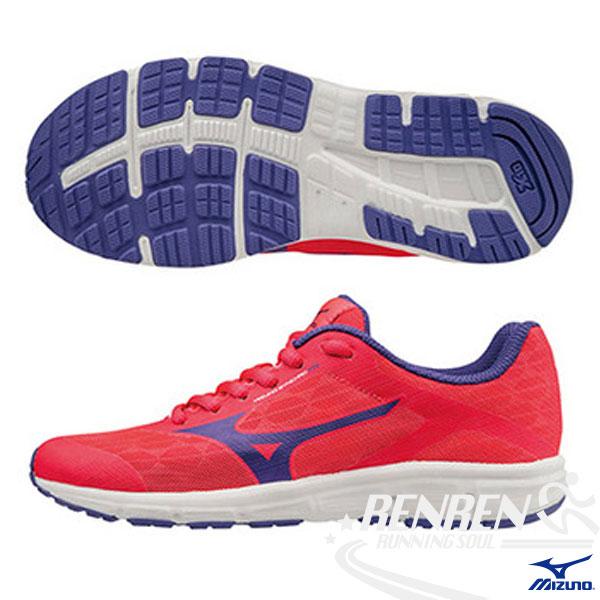 MIZUNO美津濃Synchro Jr.兼具運動休閒鞋款大童鞋紅*藍