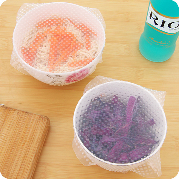 ♚MY COLOR♚食品級矽膠保鮮膜 微波爐 保鮮 加熱 密封 蓋子 冰箱 開瓶器 防滑 透明【J157-1】