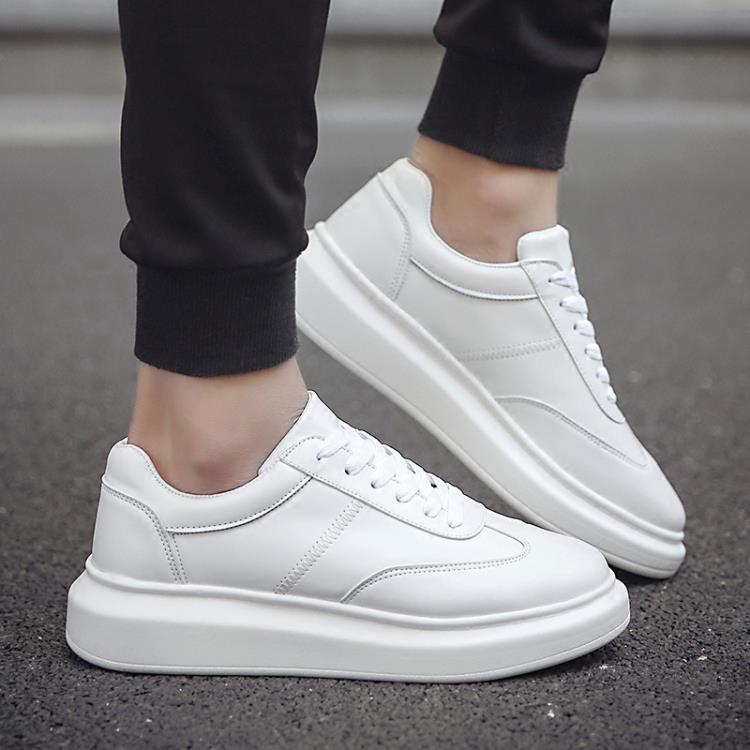 韓版潮流男鞋子厚底增高小白鞋男學生運動休閒鞋英倫百搭板鞋白色