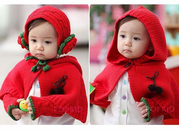 瑋娗童裝婦幼館R-070秋冬男女寶寶嬰兒針織連帽披風圍脖耳罩手套.三件套