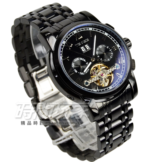 TEVISE特威斯 自動上鍊機械男錶 簍空 鏤空錶背機械錶 防水手錶 IP黑電鍍 TE9005槍黑