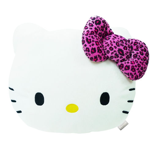 Hello Kitty凱蒂貓生活系列-豹紋紫頭型抱枕