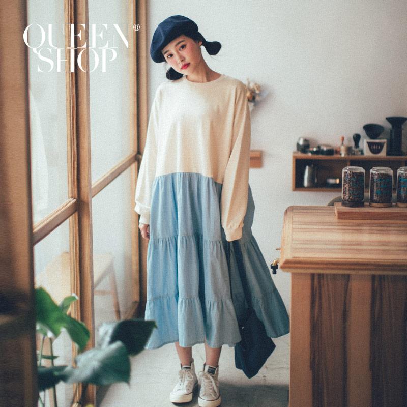 Queen Shop【01084686】撞色異材質拼接荷葉造型長袖洋裝*現+預*