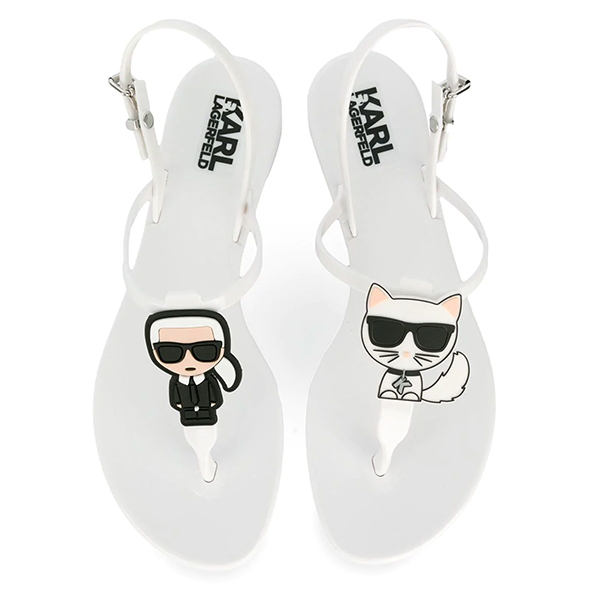 Karl Lagerfeld鞋 JELLY Q版夾腳涼鞋-白