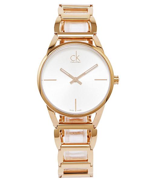 CK Calvin KleinStately高貴優雅時尚簍空女手錶K3G23626-銀白面X玫瑰金34mm