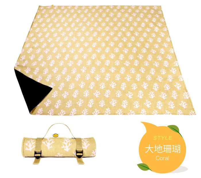 野餐墊 地墊 英國Anorak印花防水野餐墊 橘紅刺蝟 英國設計製造,精緻車縫 里和 Riho