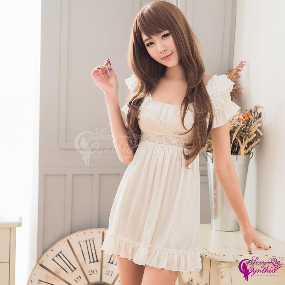 得易屋量販性感睡衣優雅甜美白色柔緞公主袖睡衣NA13020069