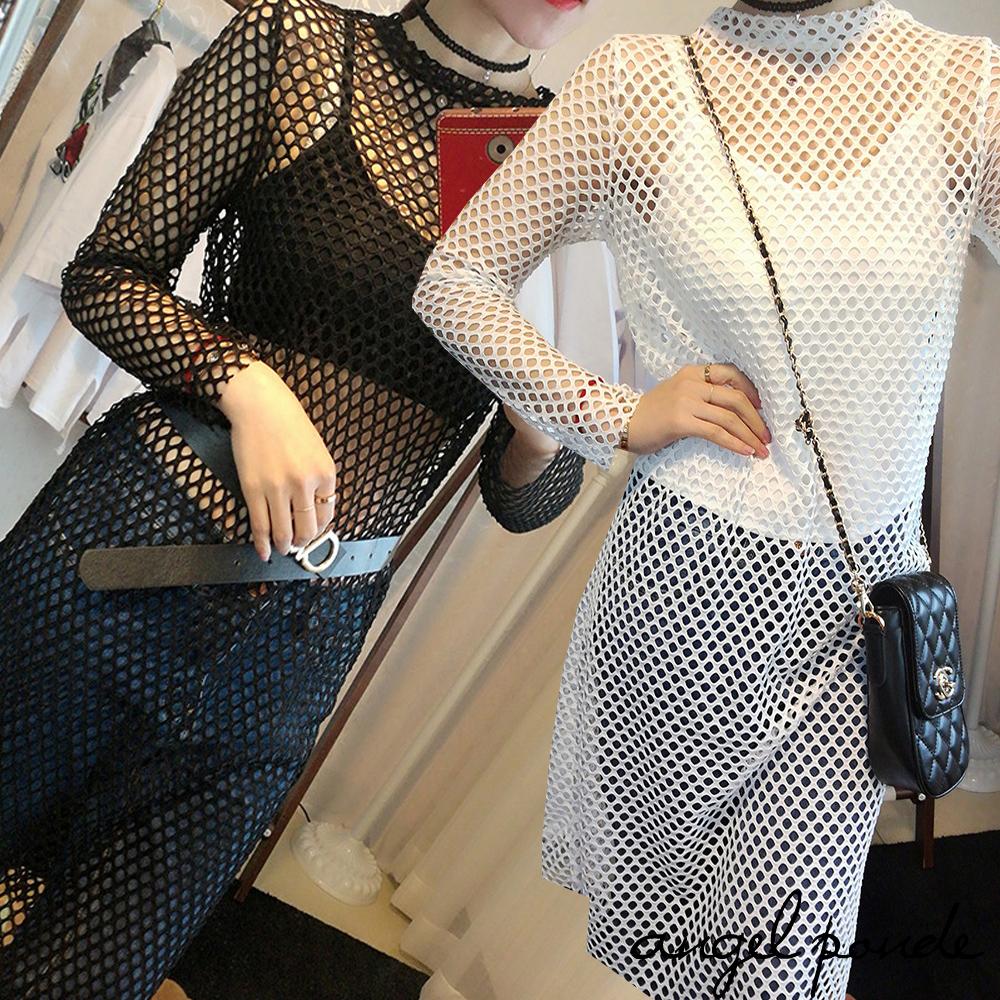 天使波堤LC0203韓版個性立領網眼洞洞衣長袖涼感鏤空洋裝共二色美脖中長裙潮流百搭特價