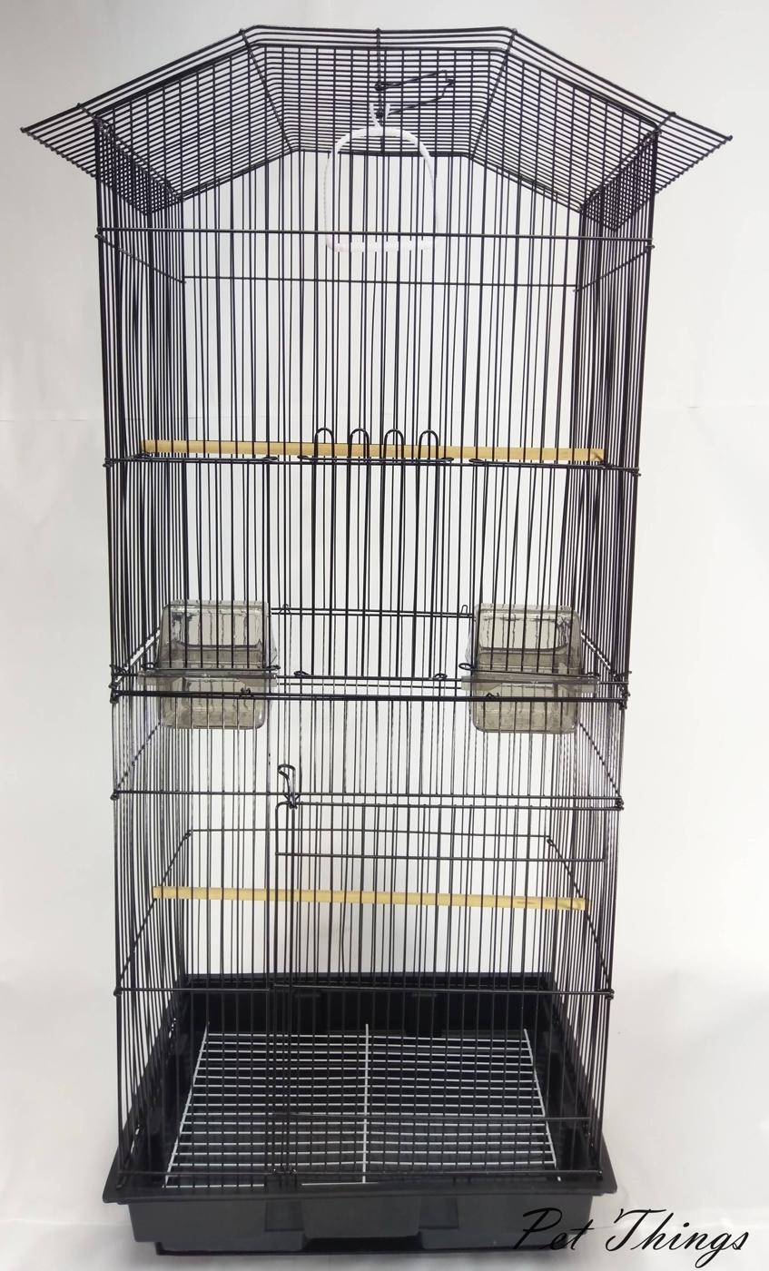 三色 加高 雙層  黑色平頂方型造型鳥籠 抽屜鳥籠 鸚鵡籠 蜜袋鼯籠 - 寵物東西 Pet Things