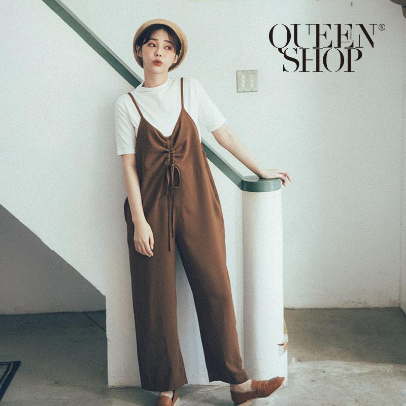 Queen Shop【04050595】抽繩細肩帶吊帶連身寬褲*現+預*