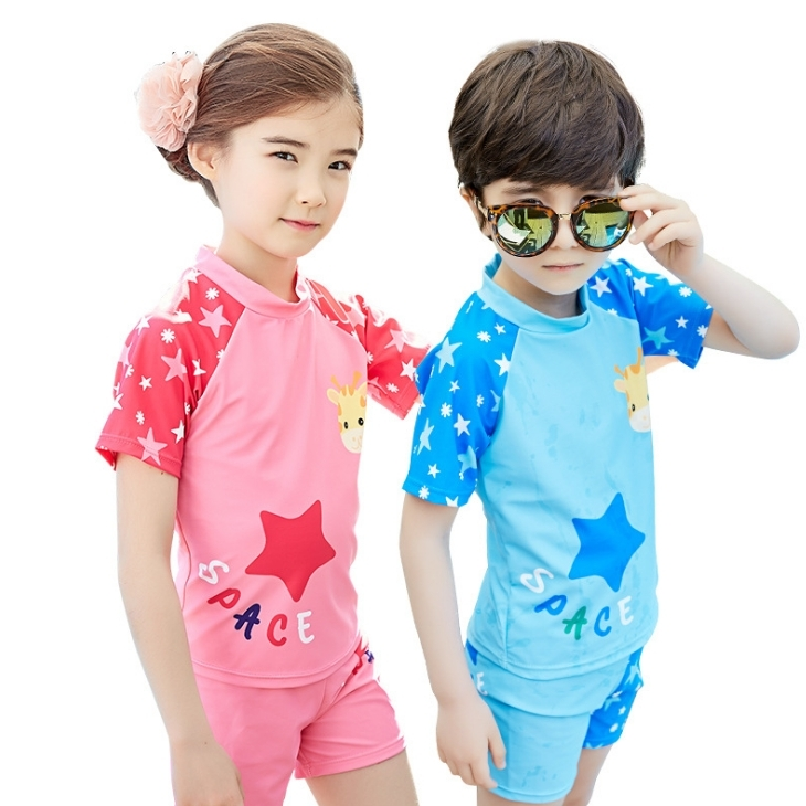 Lemonkid檸檬寶寶兒童泳衣分體式小鹿長頸鹿星星泳裝男女款KQ16017