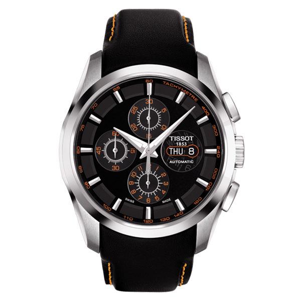 TISSOT-COUTURIER非凡工藝三眼計時機械腕錶(黑-44mm-T0356141605101)
