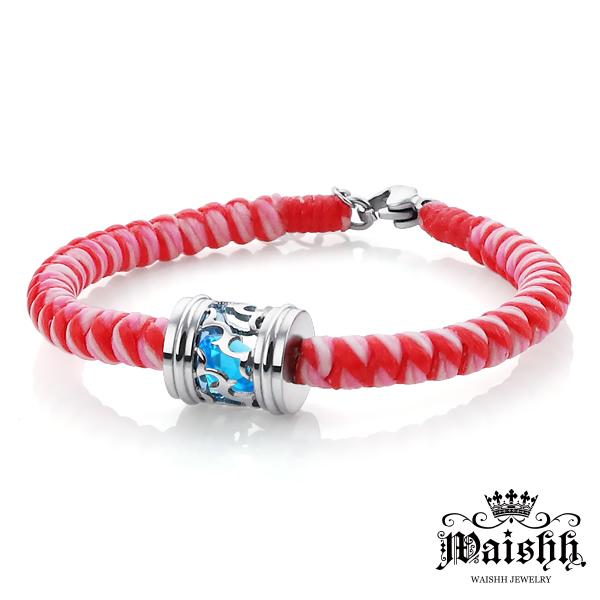 Waishh玩飾不恭深情印記-女款幸運誕生石珠寶白鋼蠶絲蠟繩手鍊附贈一顆誕生石單鍊價