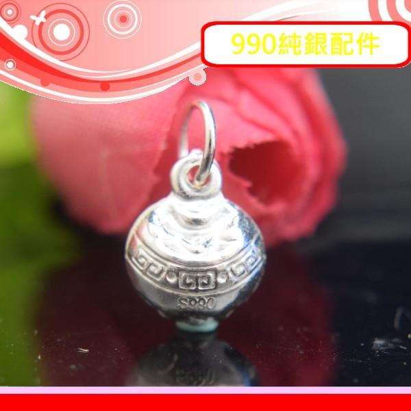 銀鏡DIY S990純銀材料配件元寶滿溢~立體亮面招財聚寶盆小吊墜E~適合手作巴西蠟線幸運繩非合金