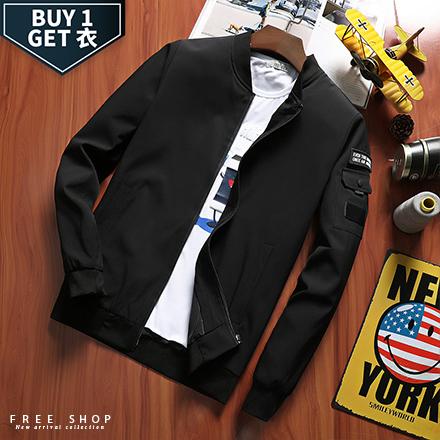 Free Shop 送T恤 休閒素面手臂口袋MA-1棒球飛行夾克外套 有大尺碼 黑色深藍色軍綠色【QTJK786】