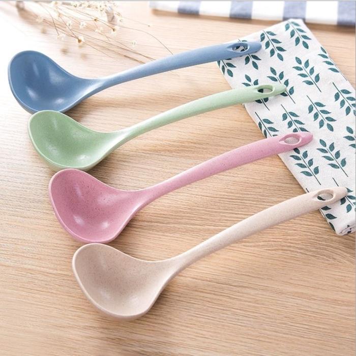 拉拉百貨小麥秸稈長柄湯勺勺子家用餐具健康環保湯勺麥香圓耳粥勺