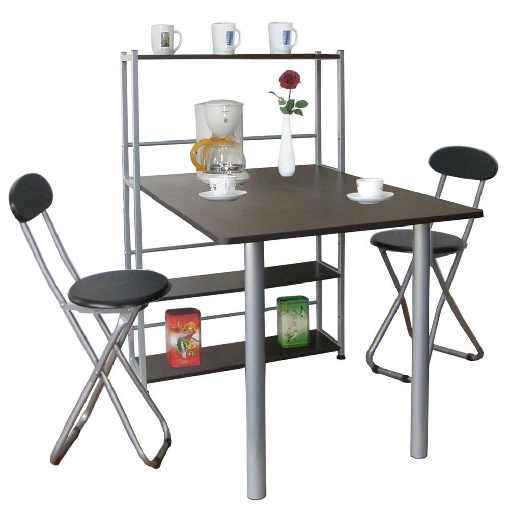 台灣製-深80x寬120公分1桌2椅組置物架型餐桌椅吧台桌椅深胡桃木色TB80120T4C2-DW
