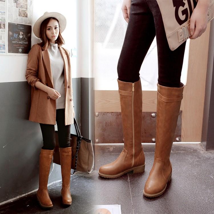 平底圓頭長靴英倫復古高筒靴騎士靴低跟中長靴女鞋【蘇迪蔓】