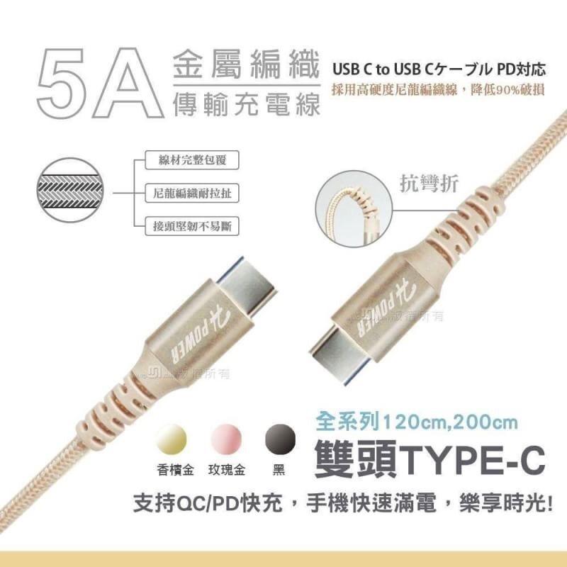 Google Pixel 4/4a /4a 5G/4 XL《台灣製造 雙頭TypeC 5A快速充電 加長充電線傳輸線快充線 》