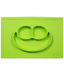 iae創百市集 美國EZPZ矽膠幼兒餐具 Happy Mat快樂防滑餐盤- 蘋果綠 餐具 盤子