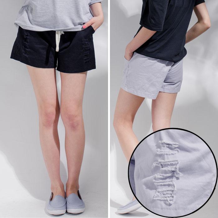 刷破抽繩棉休閒短褲 (灰 黑 白) [DP160010]