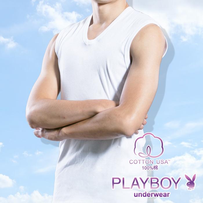 【PLAYBOY】100%純棉 親膚羅紋無袖衫-P6645B