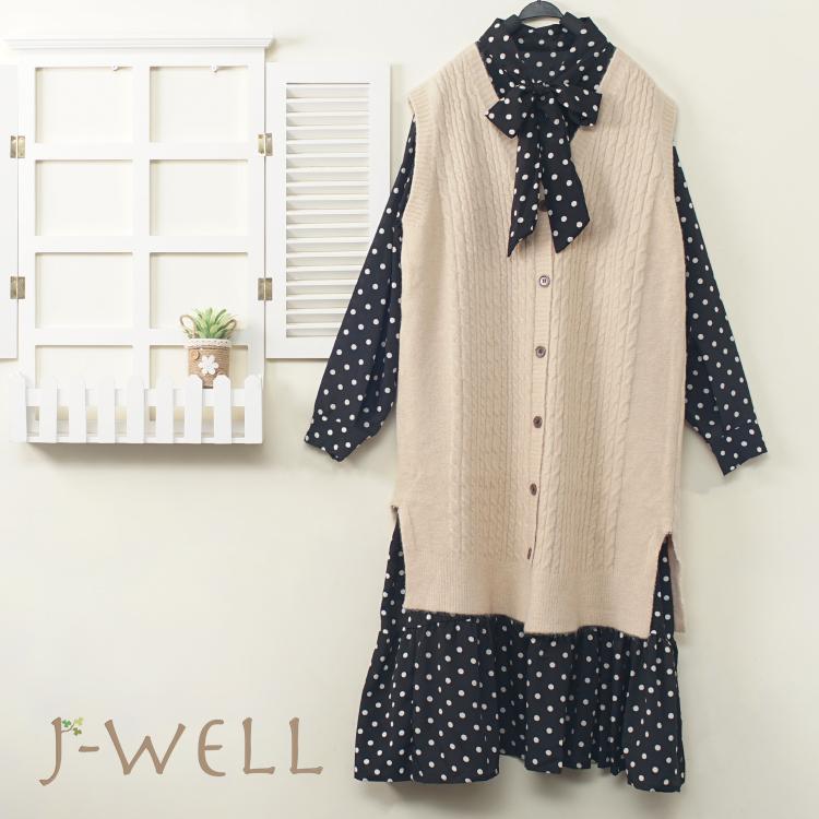 J-WELL 點點洋裝長版針織背心兩件式(3色) 9J1095