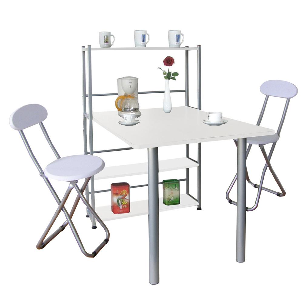 台灣製-深80x寬120公分1桌2椅組置物架型餐桌椅吧台桌椅素雅白色TB80120T4C2-WH