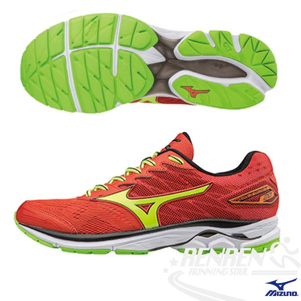 美津濃MIZUNO男慢跑鞋WAVE RIDER 20紅X黃雲波浪款路跑鞋J1GC170347胖媛的店