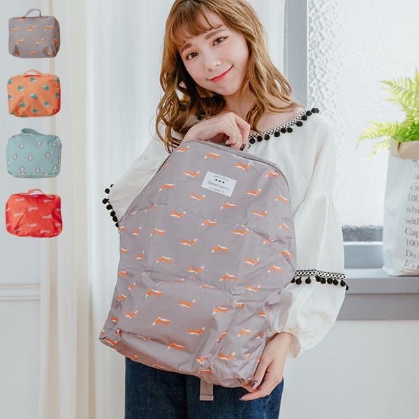 防水後背包可愛動物小圖樣旅行收納包可折疊摺疊韓版後背包現預SV8566快樂生活網
