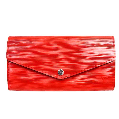 茱麗葉精品全新精品Louis Vuitton LV M60723 Sarah EPI水波紋皮革發財包扣式長夾.紅預購
