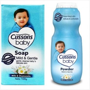 進口CUSSONS嬰兒香皂-牛奶及洋甘菊油100g*12塊爽身粉*3
