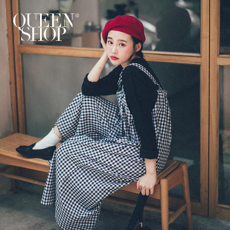 Queen Shop【04050597 】格紋雙口袋寬版連身褲*現+預*