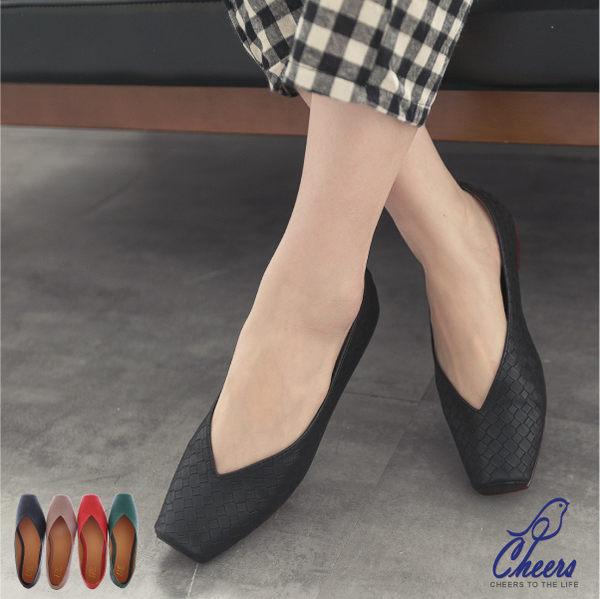 包鞋Cheers BV感編織造型開口性感方頭包鞋-五色現貨PA801