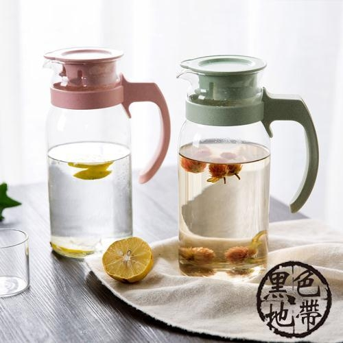 居家家麥香玻璃涼水壺果汁壺1100ml家用大容量冷水壺耐熱扎壺水壺【黑色地帶】