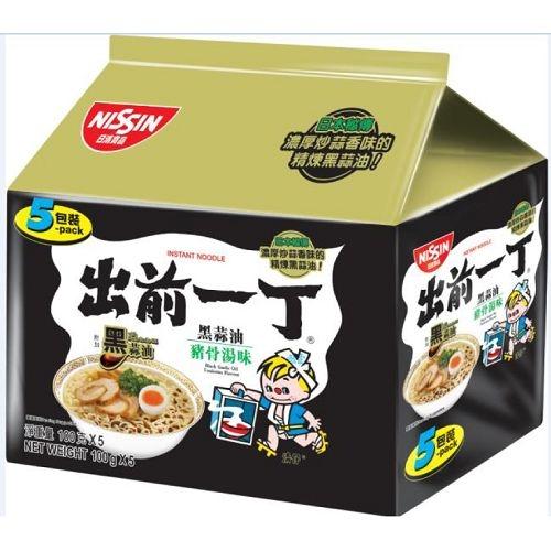 出前一丁 黑蒜油豬骨湯味速食麵 100g*5/袋【愛買】
