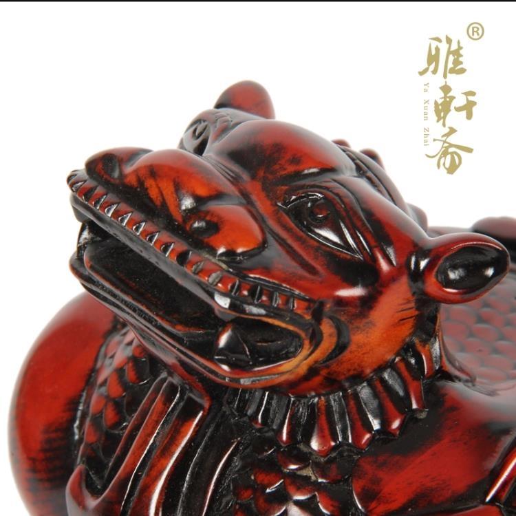 超豐國際東陽木雕桃木貔貅印章招財納福好運吉祥物招財家1入