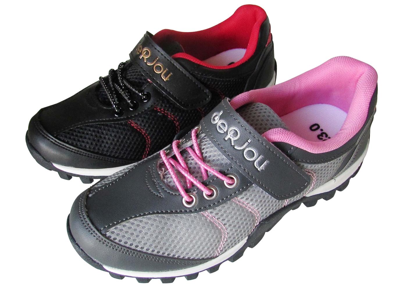 『雙惠鞋櫃』★女款 休閒運動鞋  魔鬼氈免綁鞋帶 ★  (8892) 黑紅、灰粉