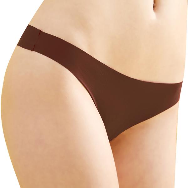 思薇爾-全素面FREE SIZE糖果低腰丁字褲(粟褐色)